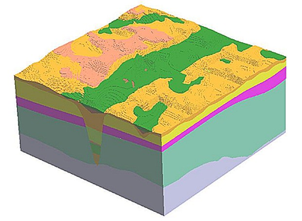 Stairstepped Gocad® model of a subglacial tunnel valley